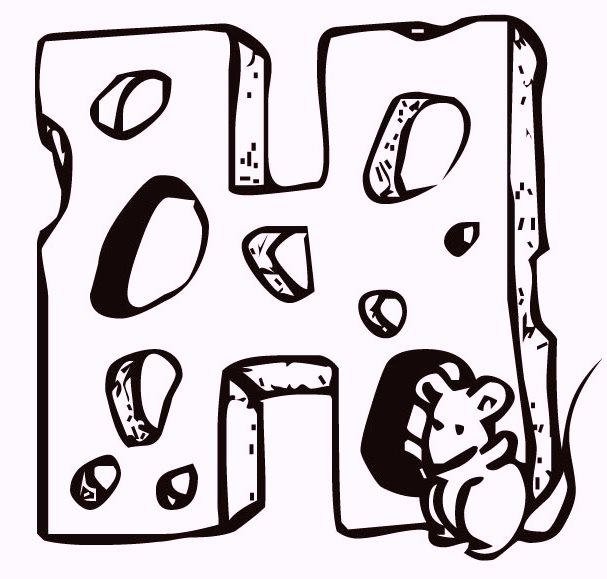 Alphabet H Cheese Coloring Pages