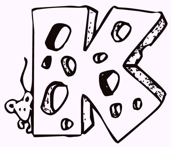 Alphabet K Cheese Coloring Pages