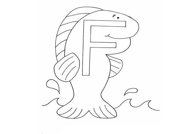 Alphabet Letter F For Fish Coloring Page