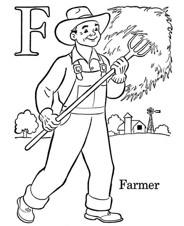 Alphabet Letter F Is For Farmer Coloring Page