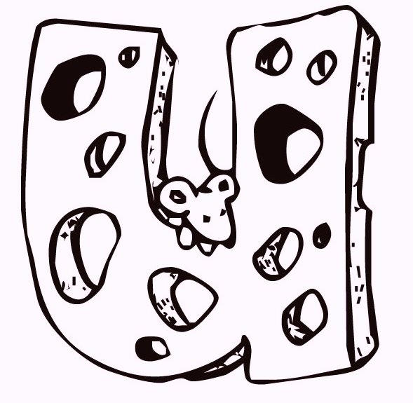 Alphabet U Cheese And Mouse Coloring Pages