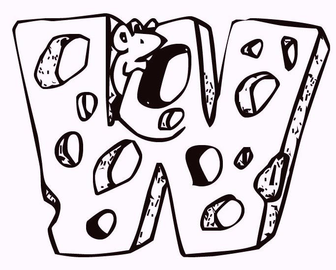 Alphabet W Cheese And Mouse Coloring Pages