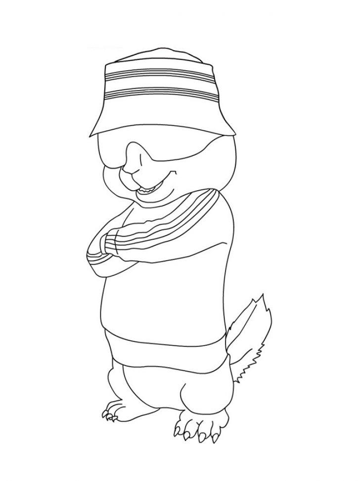 Alvin And The Chipmunks Coloring Pages Simon Wearing Sunglasses
