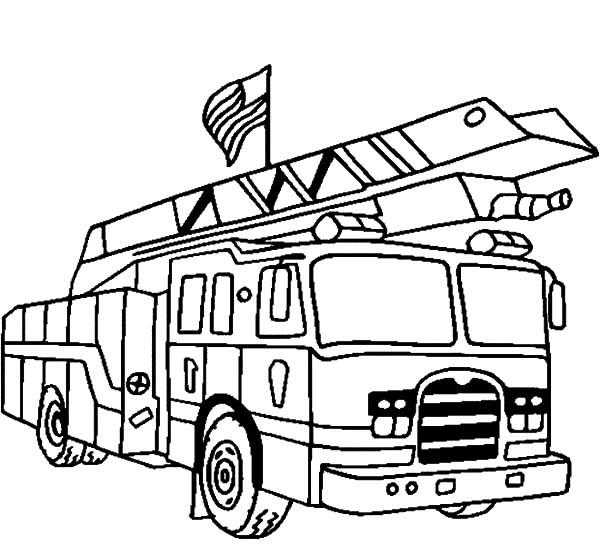 American Fire Truck Coloring Pages
