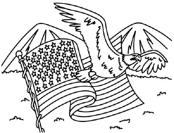 American Flag And Eagle For 4th July Independence Day Coloring Page