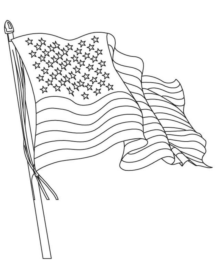 American Flag Coloring Page Waving Flag