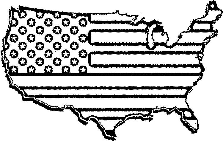American Flag Coloring Pages Usa Map