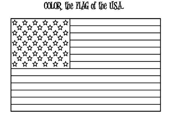 American Flag For 4th July Independence Day Coloring Page