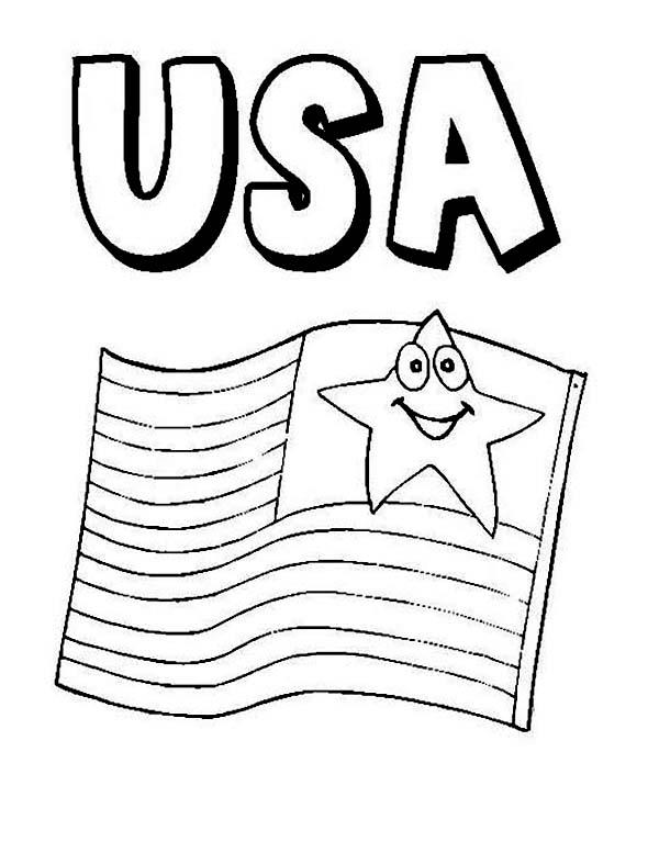 American Flag On 4th July Independence Day Coloring Page