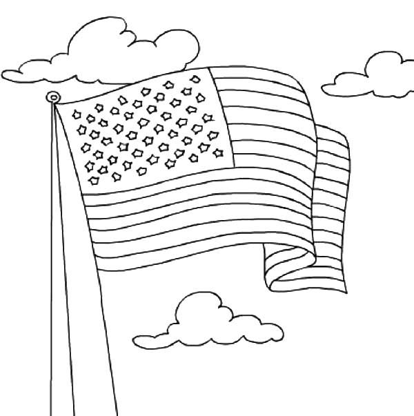 American Flag Waving On 4th July Independence Day Coloring Page
