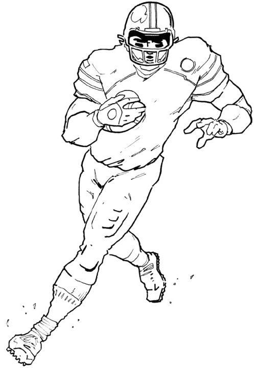 American Football Player Coloring Pages Running The Ball