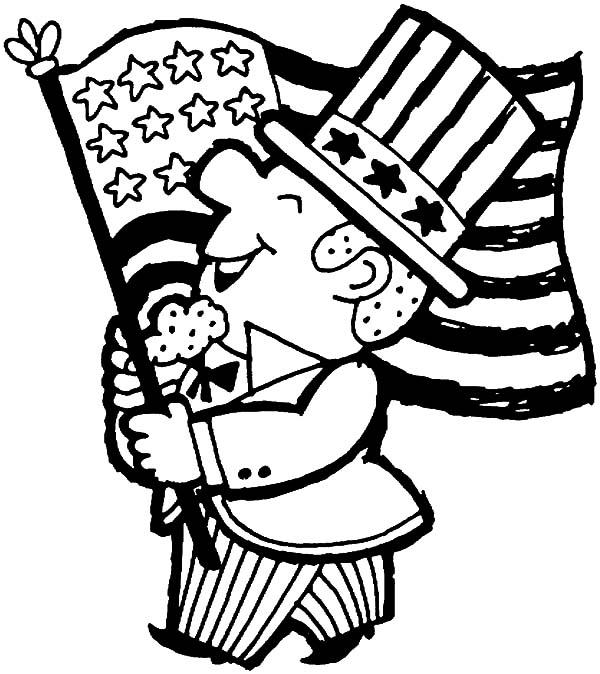 American Revolution Flag On Independence Day Coloring Pages