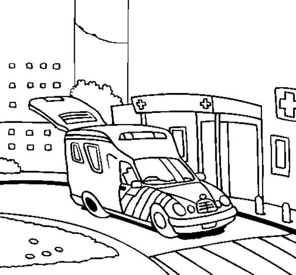 An Ambulance Arrived At The Hospital Coloring Pages