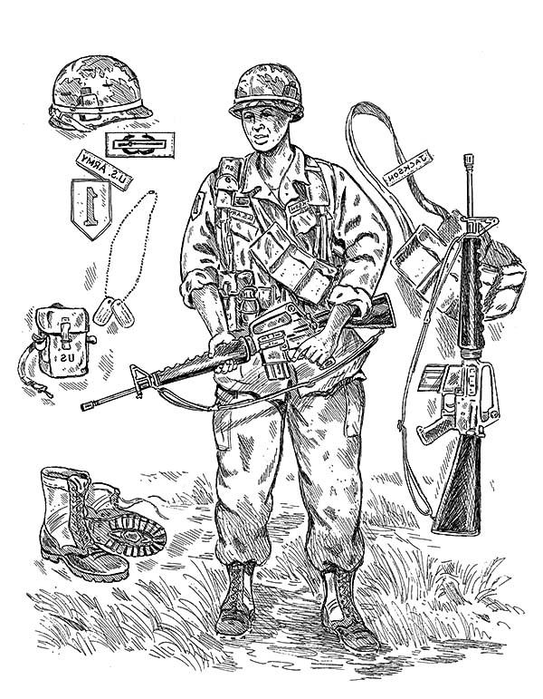 An Army Soldier Gear Coloring Pages