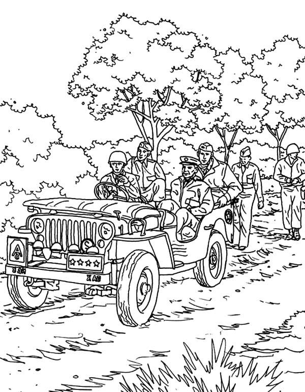 An Army Troops Partol With Army Car Coloring Pages