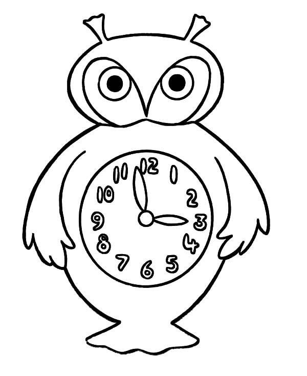 An Owl Analog Clock Coloring Pages