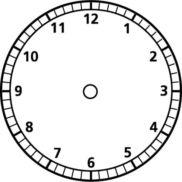 Analog Clock Blank Face Coloring Pages
