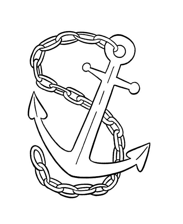 Anchor Tied With Chain Coloring Pages