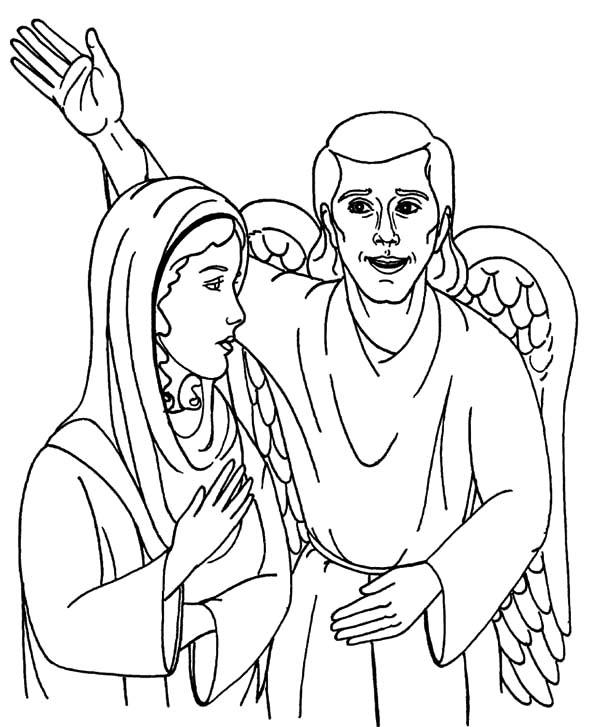 Angel Appears To Mary And Speak To Her Coloring Pages