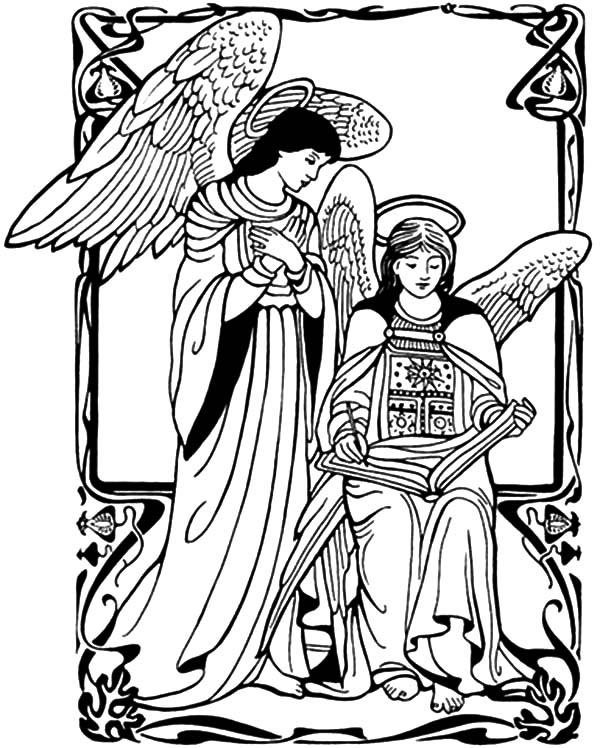 Angel Appears To Mary Coloring Pages