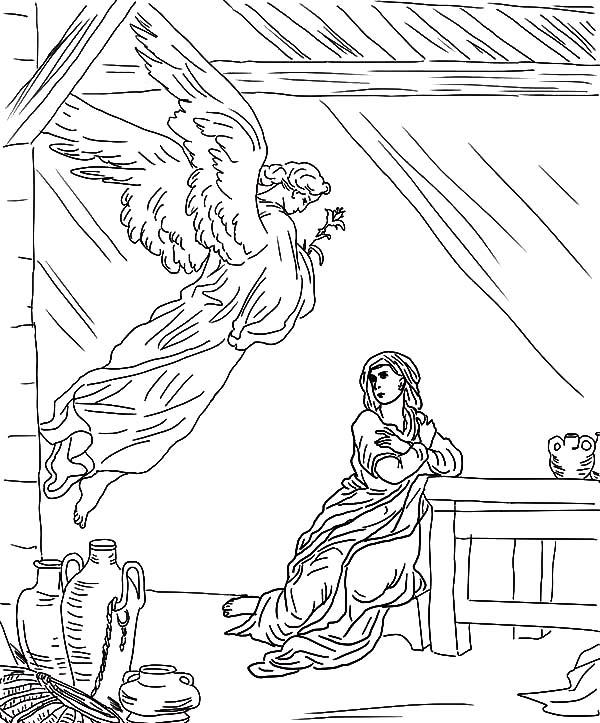 Angel Appears To Mary Flying From The Sky Coloring Pages