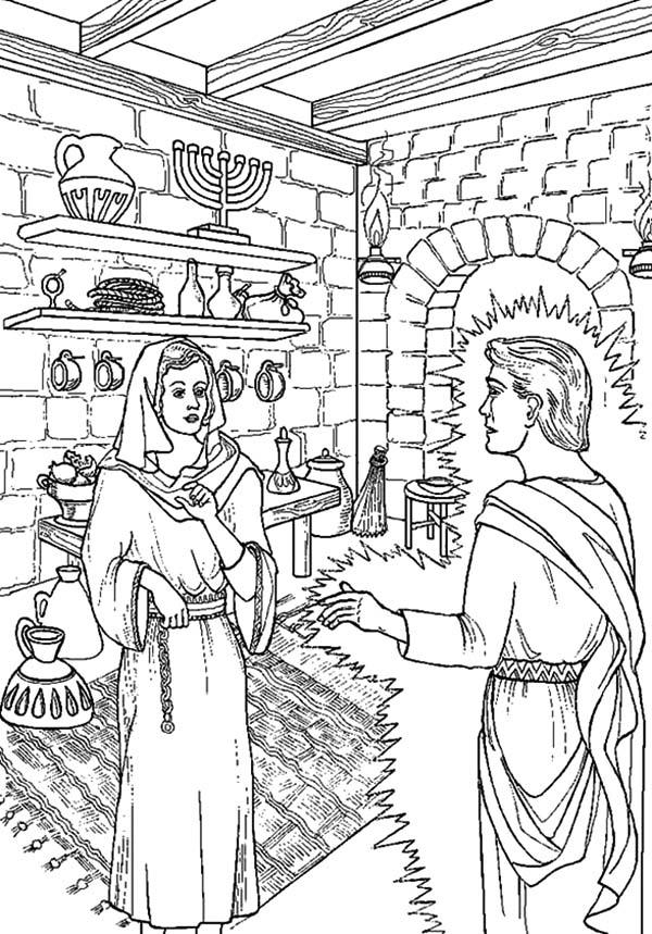 Angel Appears To Mary In Bright Light Coloring Pages