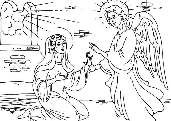 Angel Appears To Mary In Her House Coloring Pages