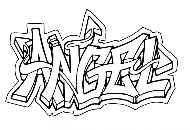 Angel Coloring Pages For Teenagers Graffiti