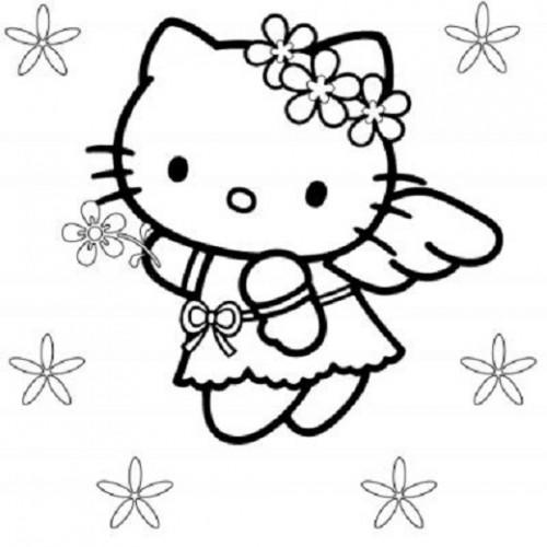 Angel Coloring Pages Hello Kitty