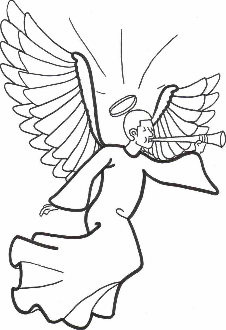Angel Coloring Pages With Trumpet