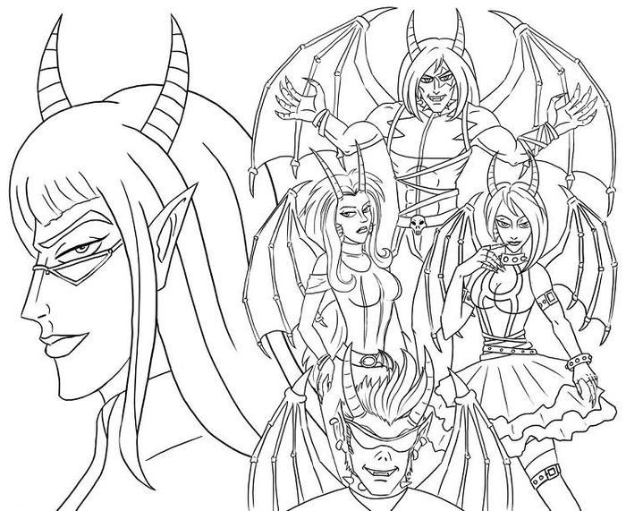 Angels And Demon Coloring Pages