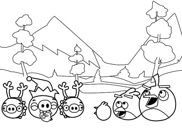 Angry Bird Pigs In Peace With Angry Brids Coloring Pages