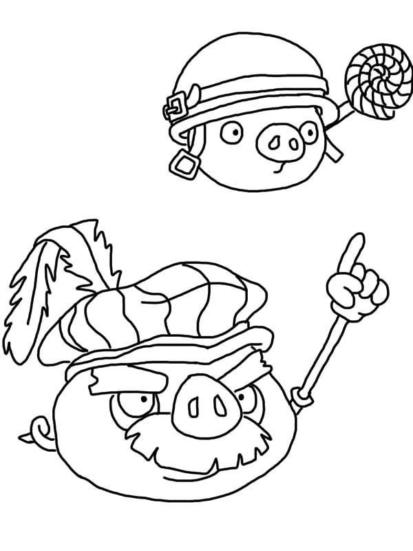 Angry Bird Pigs King Give Command Coloring Pages