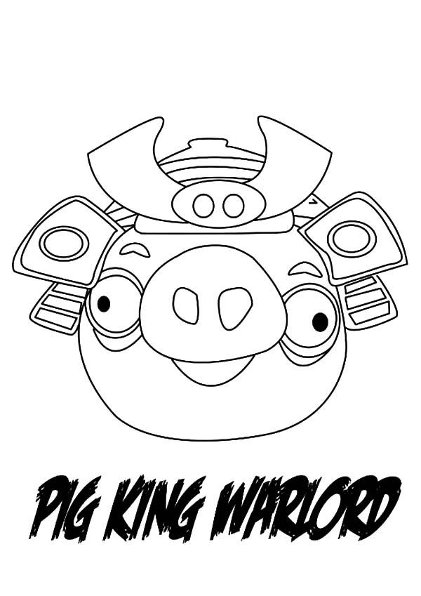 Angry Bird Pigs King Warlord Coloring Pages