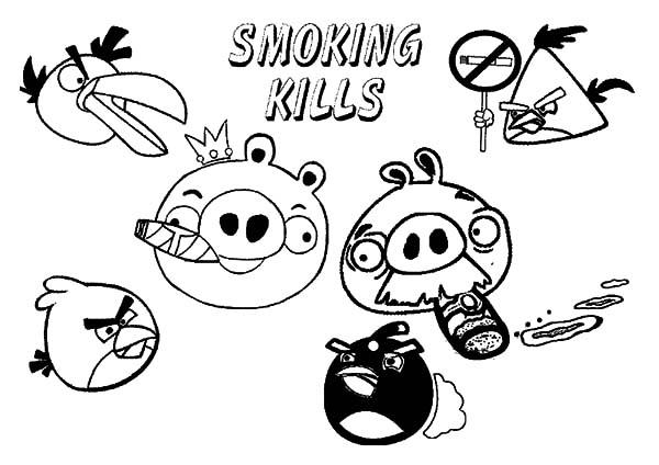 Angry Bird Pigs Smoking Kills Advertisement Coloring Pages