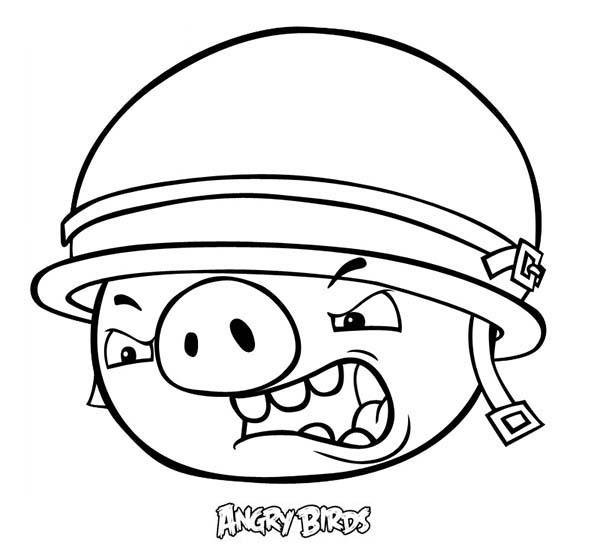 Angry Bird Pigs Soldier Coloring Pages