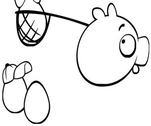 Angry bird pigs stole angry bird eggs coloring pages