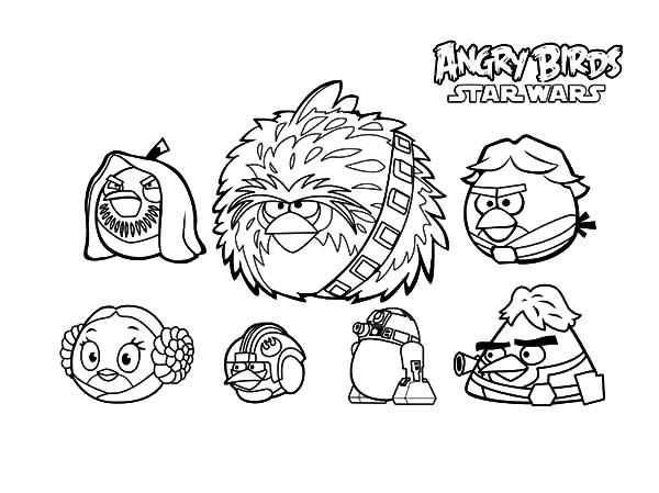 Angry Bird Star Wars Characters Coloring Pages