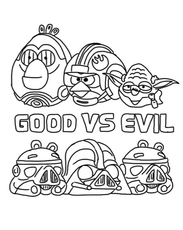 Angry Bird Star Wars The Good Versus The Evil Coloring Pages