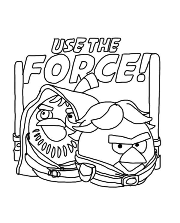 Angry Bird Star Wars Use The Force Coloring Pages