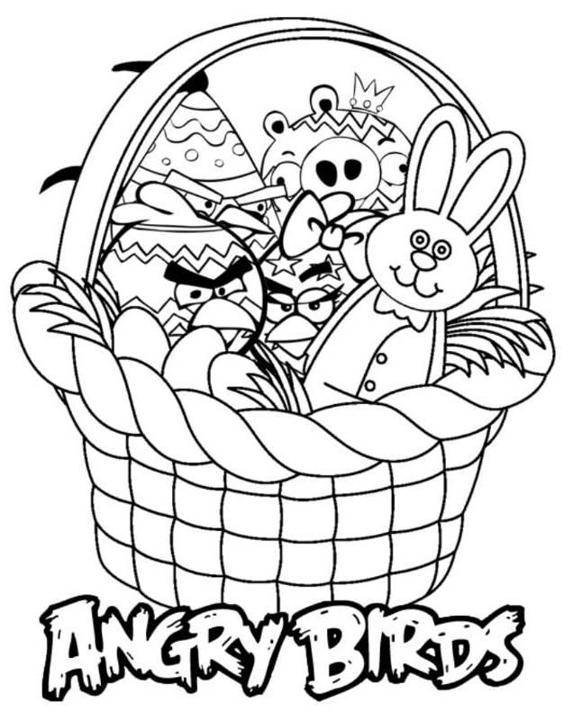 Angry Birds Easter Basket Coloring Pages
