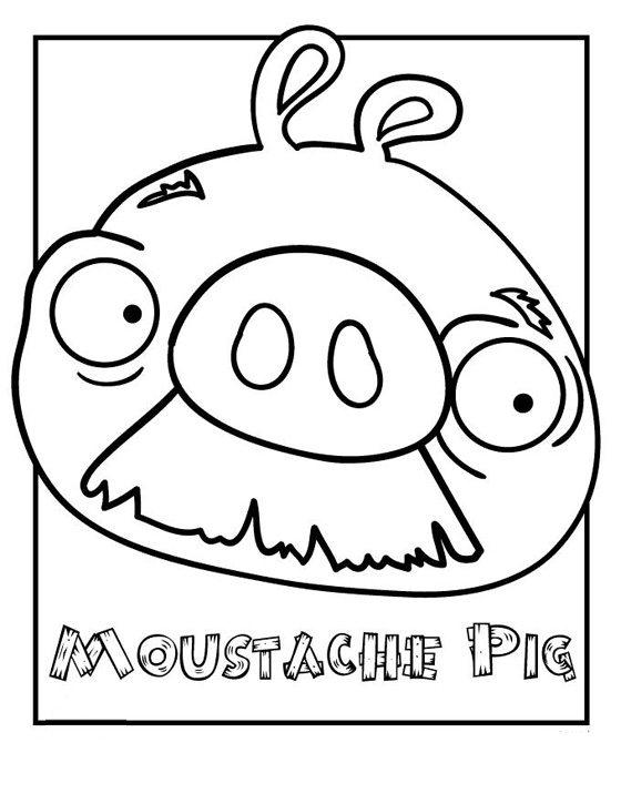 Angry Birds Pig Coloring Pages Moustache Pig