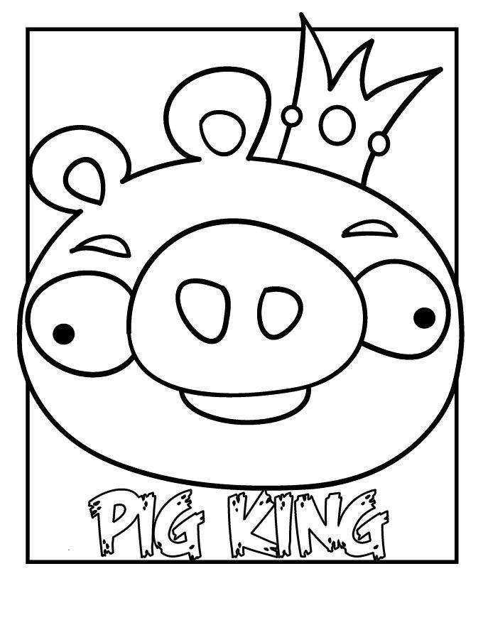 Angry Birds Pig Coloring Pages Pig King