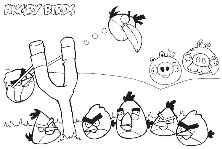 Angry Birds Shoot Coloring Page