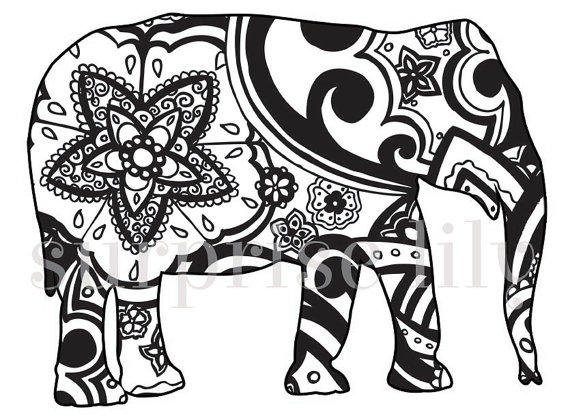 Animal Abstract Elephant Coloring Pages For Adults