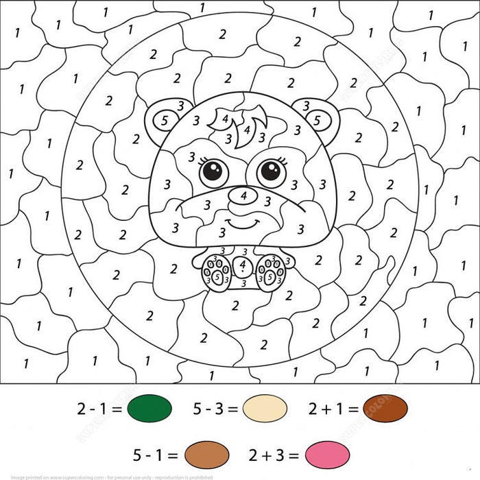 Animal Color By Numbers Coloring Pages