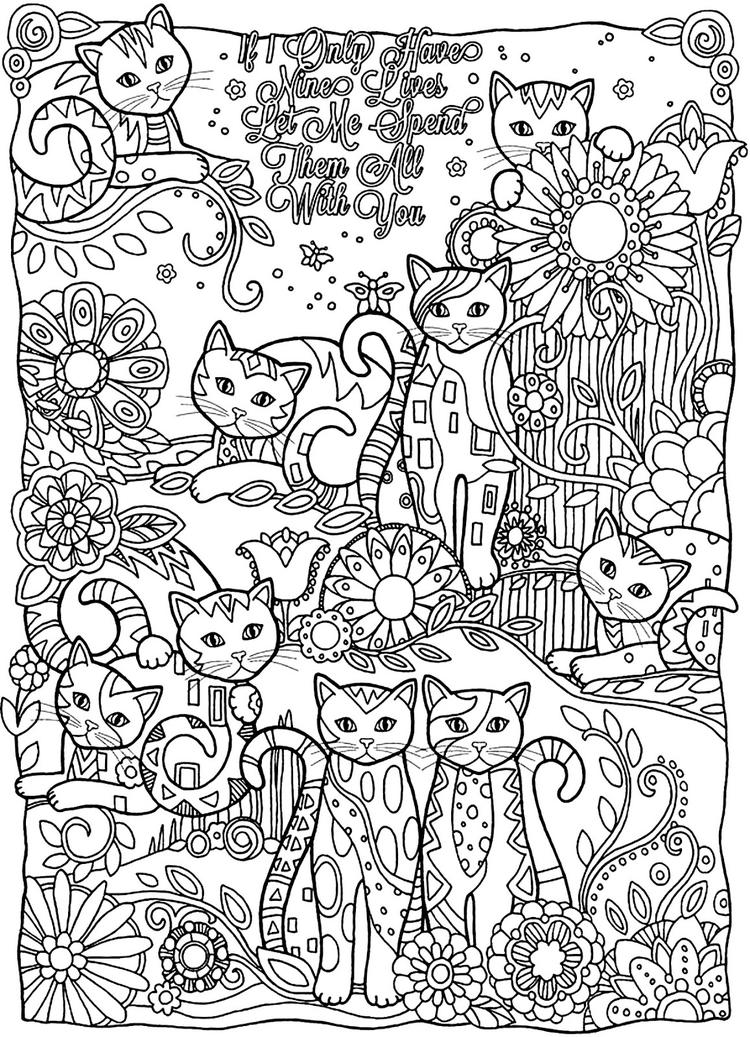 Animal coloring pages for adults cats