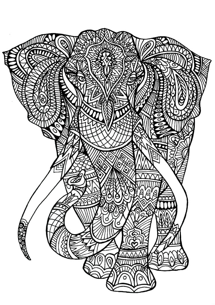 Animal Coloring Pages For Adults Elephant