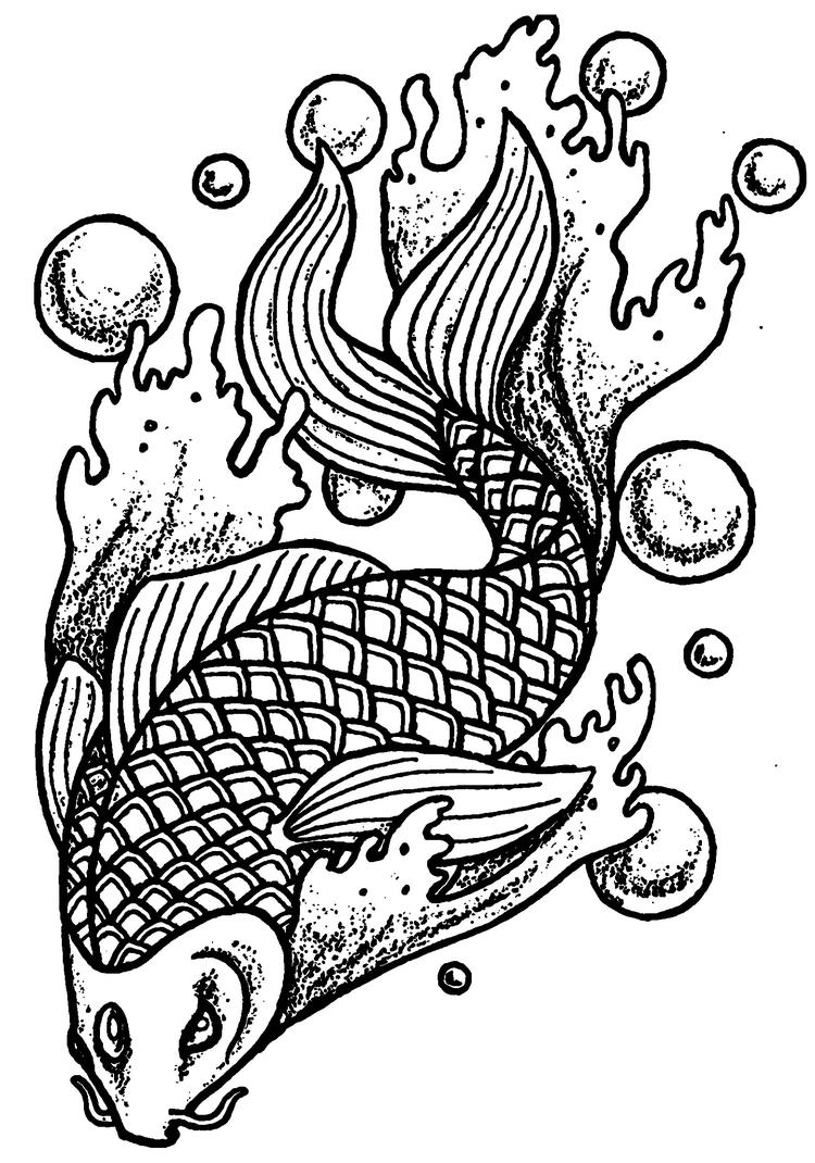 Animal Coloring Pages For Adults Koi Fish