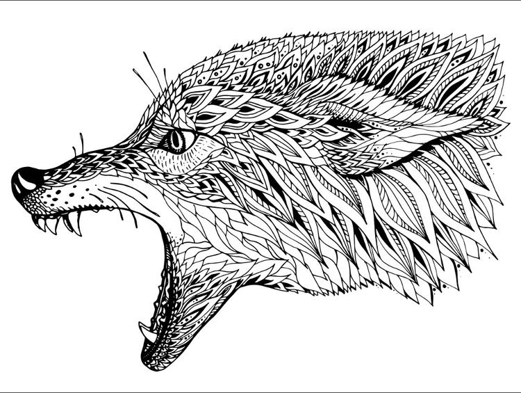Animal Coloring Pages For Adults Wolf Howling